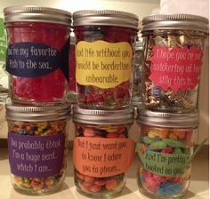Mason Jar Candy Sayings Valentines Ideas For Boyfriend Birthday Care Package