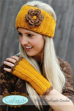 Fingerless Gloves - Gold, Cocoa-Gloves, arm warmers, fingerless gloves, crochet, fiber, yarn, gold, yellow, mustard, brown, chocolate, trim,...