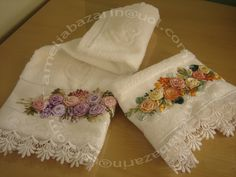 Mel Doce Mel Artesanato: Toalha de lavabo bordada