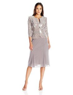 Alex Evenings Women's Petite T-Length Mock with Jacket and Panel Detail Skirt