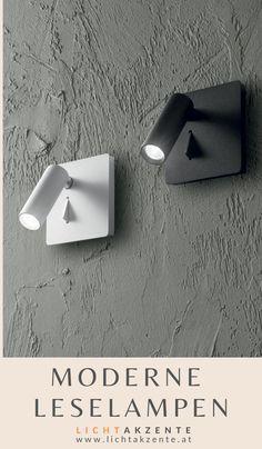 """Schlafzimmer Wandlampe """"Lite"""" mit LED Leselicht erhältlich bei Lichtakzente. Der LED Strahler kann nach vorne und seitlich gedreht werden. Die Wandleuchte kann neben dem Bett als Nachttischlampe ins Schlafzimmer oder auch als Wand Leselampe ins Wohnzimmer montiert werden. // Wandleuchte Schlafzimmer Bett, Bett Lampe Wand #leselampe #lampen und leuchten #beleuchtung #lampe #lichtakzente Wall Lights, Lighting, Interior Design, Home Decor, Modern Light Fixtures, Nest Design, Appliques, Decoration Home, Light Fixtures"""