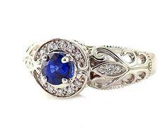 14K Blue Sapphire Ring Vintage Blue Sapphire Engagement Ring Diamond Halo Art Nouveau Gold Platinum Custom Bridal Jewelry www.finditforweddings.com