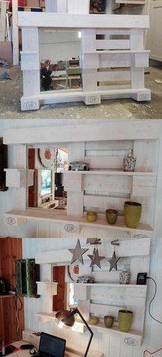 Pallet Mirror with Shelf