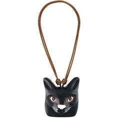 Loewe 'Cat Face' necklace ($750) ❤ liked on Polyvore featuring jewelry, necklaces, black, cat necklace, cat jewelry and loewe