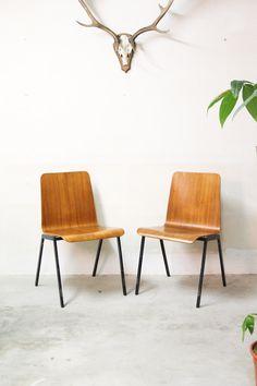 Set vintage pagholz stoelen / houten schoolstoelen