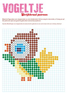 strijkkraal patroon vogel free printable from website #perlerbeads #bird