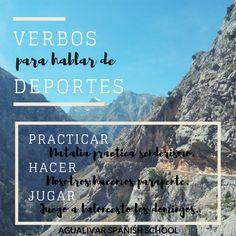 Verbos para hablar de deportes. Practicar, hacer y jugar. Clase de ELE. Spanish, School, Learn Spanish, Tips, Sports, Spanish Language, Spain
