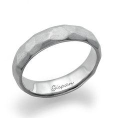 Mens Wedding Band 14k White Gold Ring Wedding by Gispandesigns
