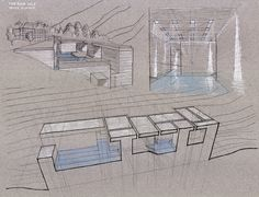 Zumthor's Therme Vals Analysis on Behance Site Analysis Architecture, Architecture Student, Architecture Details, Architecture Models, Interior Architecture, Thermal Vals, Japanese Public Bath, Bodega Hotel, Home Spa Treatments