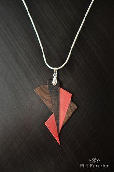 collier argent 925 pendentif ébène noir, ziricote, pink ivory. wooden necklace, wooden jewelry, necklace, gemstone necklace.  contemporary jewelery