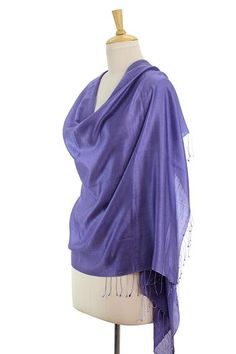 Wool and Silk Shawl Lilac Wrap from India - Shimmering Lavender | NOVICA