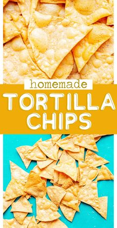 This Homemade Tortilla Chips recipe is a delicious way to use your leftover tortillas, turning them into crispy restaurant-style tortilla chips! Healthy Vegan Snacks, Gluten Free Snacks, Vegan Appetizers, Easy Appetizer Recipes, Easy Snacks, Easy Dinner Recipes, Snack Recipes, Easy Meals, Gluten Free Tortilla Chips