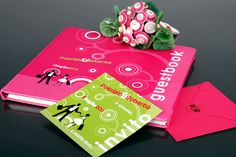 """""""Shocking"""" green + pink guestbook by Fibre di Luce"""