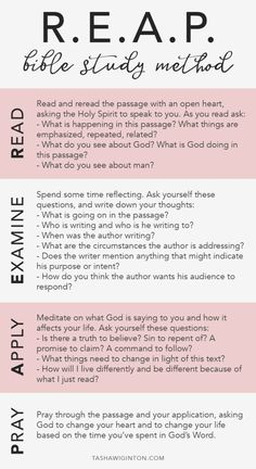 How To Study The Bible: REAP Bible study method. Whether you're a beginner or just looking to dive deeper into scripture, R. is an easy way to study the Bible. Bible Study Plans, Bible Study Notebook, Bible Study Tips, Bible Study Journal, Scripture Study, Bible Lessons, Bible Guide, Devotional Journal, Beginner Bible Study