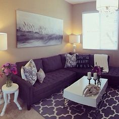 #ShareIG Congratulations to @alexandra_nicole_ on her recent living room makeover! Features our Hoof Legged Accent Table, Vapor Sectional, Juliette Pillows,  Saber Tooth Tiger Skull.