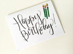 Happy birthday Card – Happy birthday – Hand lettering – Hand Drawn – Card – Birthday Gift