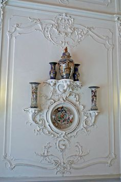 Catherine's Palace (1752) - The staircase was decorated by the architect Hippolyte Monighetti in the Rococo style, with carved balustrade and vases.