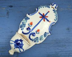 Antique French Holy Water Font, Nevers or Auxerre Stoup, Earthenware Holy Water Bedside Basin, Blue Crucifix, Catholicism, Religious Item
