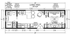 28 tiny house floor plan 3 bedrooms 600x297   Tiny House Floor Plans: 32 Long Tiny Home on Wheels Design