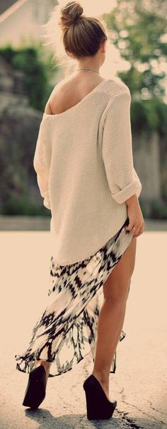 Off shoulder knit sweater with maxi skirt