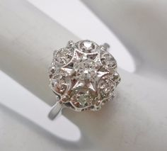 Genuine 14k White Gold Diamond Dome Cluster .25 TCW Ring Size 6 #3246 #LL #Cluster