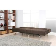 This brown futon sofa bed will add extra seating to your living room ...