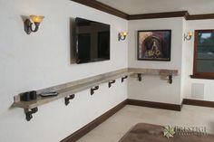 Granite Drink Rail in wine room.
