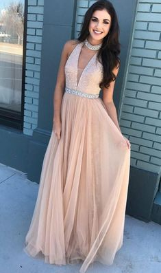 Halter Long Prom Dress,Sequin Prom Dress,Tulle Prom Dresses,Sexy