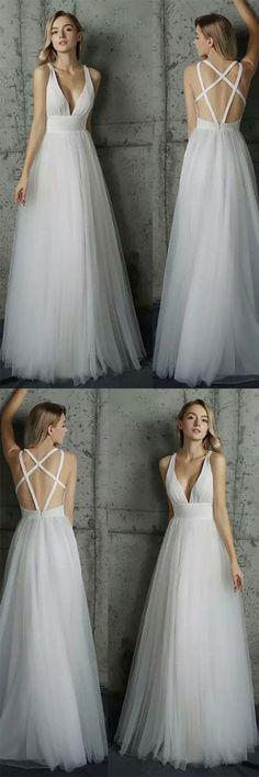 Simply V Neck White Tulle Long Prom Dresses,PD4558913 #promdress #fashion #shopping #dresses #eveningdresses #2018prom