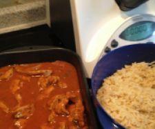 Rezept Schaschliktopf mit Reis und feuriger Soße - Rezept aus der Kategorie Hauptgerichte mit Fleisch