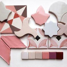 M O O D B O A R D // Less Monday, more pink 🐙  .  .  .  #Tiledesire #moodboard #pinktiles #diamondtiles #handmade #tiles #glazedterracotta #ceramictiles #newtiledesign #Tiledesire #fishscale #tiles #andalusiantiles #moroccantiles #azulejos #escamadepez #tiledesign #tiletrends #londontiles #uktiles #spanishtiles #handmadetiles #ceramictiles #terracottatiles #interiordesign #tile #bluetiles #shapes  #geometrictiles #geometricfishscales #moroccanfishscales #fishscaletiles #ogeedrop