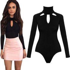 480426e0db Womens Ladies High Neck Keyhole V-Neck Bodysuit Long Sleeve Leotard To –  cigauy