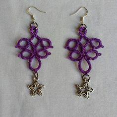 Tatted Purple Star Dangling Earrings