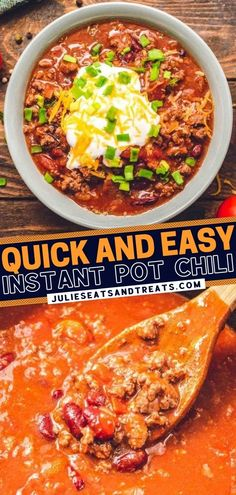Your favorite comfort food is quick and easy to make, thanks to the Instant Pot! You are only four steps away from a big bowl of chili for a delicious winter dinner. Full of flavor and your desired toppings, this hearty soup tastes like it has been slow-cooked all day!