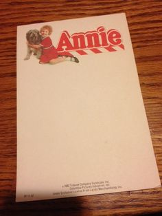 Annie 1982  Notepad by BaudelaireAntiques on Etsy, $9.99