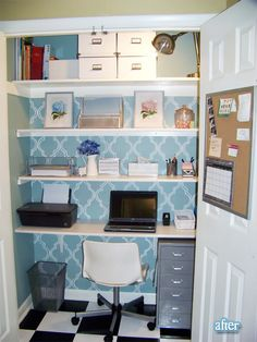Making It Too Perfect: Condensing our Giant Messy Home Office into a Computer Armoire! Closet Nook, Closet Office, Office Nook, Guest Room Office, Home Office Space, Closet Bedroom, Small Office, Closet Space, Hall Closet