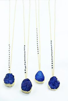 Gold Edged Cobalt Blue Druzy Necklace with lapis stone chain accent - NG06Druzy by joydravecky on Etsy