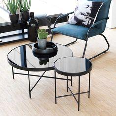 Glastisch schwarz rund  Extravaganter Couchtisch MODUL 60 cm matt schwarz kupfer rund inkl ...