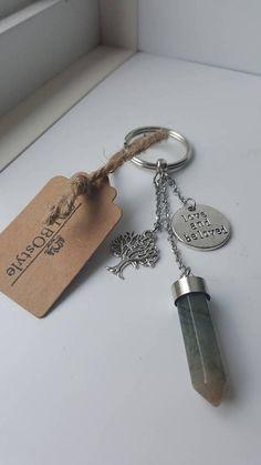 Porte-clés en pierre fine agate mousse avec breloques arbre de Agate Mousse, Personalized Items, Etsy, Stone