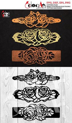 3 Rose Cuff Bracelet Leather Jewelry Templates Vector Digital