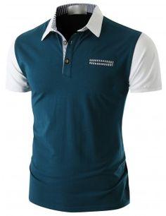 Doublju Men's Short Sleeve Pocket Polo Shirt (CMTTS014)