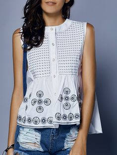 Sweet Round Neck Loose-Fitted Embroidery Print Button Women's Tank Top