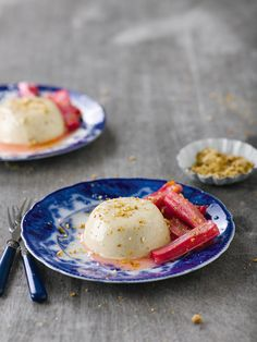 Sharp poached rhubarb cuts through the creaminess of this sophisticated dessert recipe.