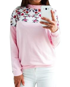 FLCH+YIGE Womens Christmas Print Long Sleeve Comfy Blouse Tops Sweatshirt