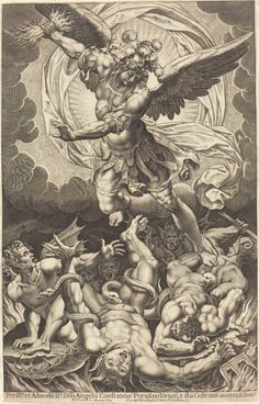 Philippe Thomassin - The Fall of the Rebellious Angels, 1618 Catholic Art, Religious Art, Archangel Tattoo, Arte Punk, Occult Art, Biblical Art, National Gallery Of Art, Classical Art, Angel Art