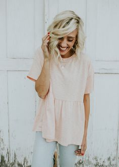 Oversized Babydoll Top in Blush   ROOLEE
