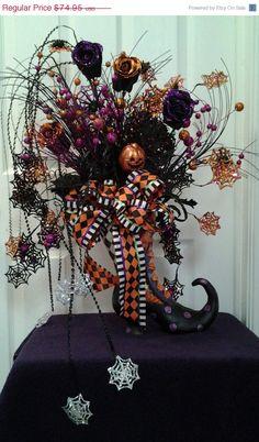 catzcustomcreations halloween centerpiece cauldron arrangement not wreath legs decoration raz imports floral pick stems feather boa ghost by catz - Raz Halloween Decorations