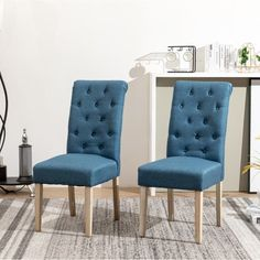 Shop Copper Grove Schwalbach Upholstered Parsons Dining Chairs (Set of 2) - On Sale - Overstock - 20461019 - Blue Parsons Dining Chairs, Dining Chair Set, Distressed Chair, Chair Types, Chair Backs, Contemporary Decor, Upholstery, Copper, Furniture