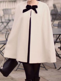 Beige Woolen Poncho With Bowknot. I'm addicted to this look.