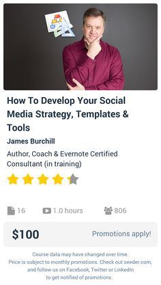 How To Develop Your Social Media Strategy, Templates & Tools | Seeder offers perhaps the most dense collection of high quality online courses on the Internet. Over 13,800 courses, monthly discounts up to 92% off, and every course comes with a 30-day money back guarantee.